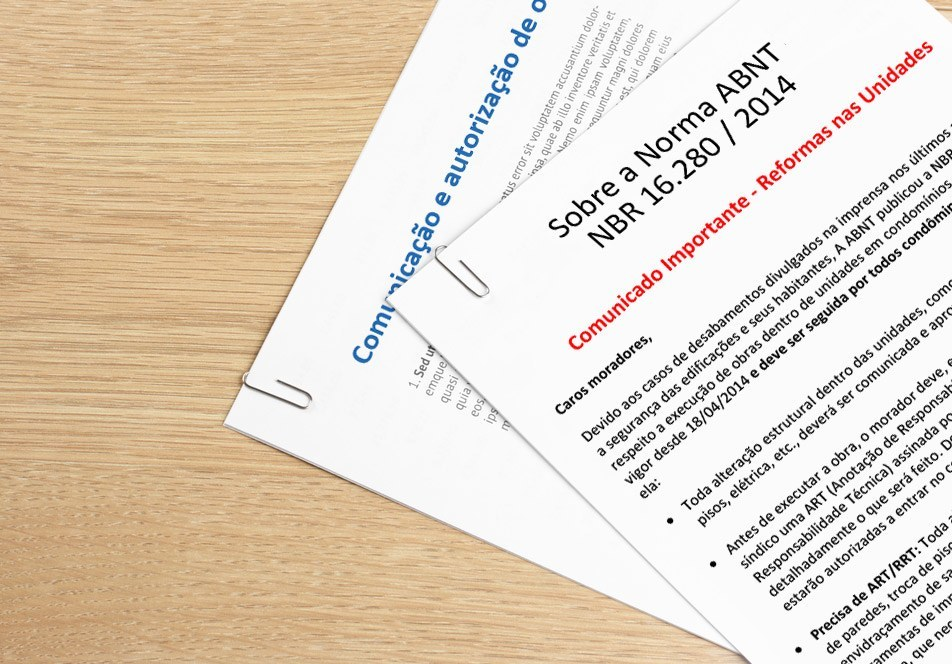 Formulários e Comunicados para implementar a Norma da ABNT no condomínio