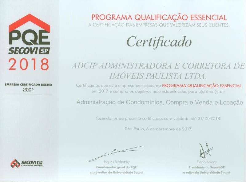 Foto - Certificado PQE 2018 - Programa de Qualificação Essencial