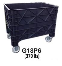 Foto - Carro coletor de lixo - 370 litros com rodas 6 polegadas em borracha cinza.