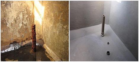 Foto - Impermeabilização de caixa d'água, antes e depois.