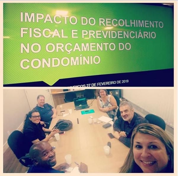 """Foto - Palestra para síndicos promovido em nossa sede com o Tema: """" Impacto do Recolhimento Fiscal e Previdenciário no Orçamento do Condomínio""""."""