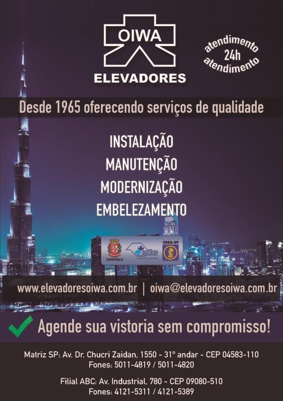 Foto - Elevadores Oiwa - Desde 1965 oferendo serviços de qualidade para todos os modelos de elevadores