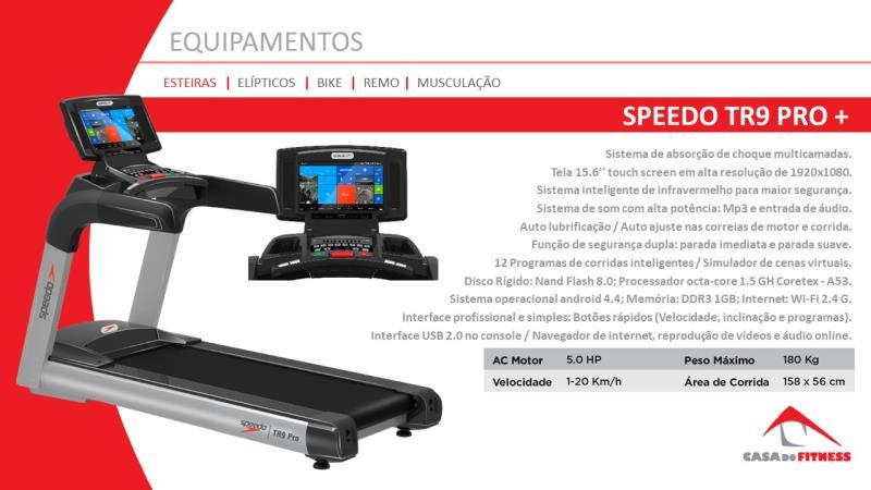 Foto - A Esteira Speedo TR9Pro+ é um modelo profissional para durar e suportar os treinos mais fortes e a alta frequência dos usuários, com extremo conforto. O motor de corrente alternada fornece bastante força em baixas velocidades e alto desempenho nas acelerações. Possui painel touch screen, sistema android e wi-fi.