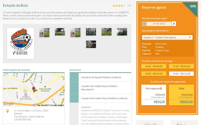 Foto - Página para frequentadores das quadras reservam online.
