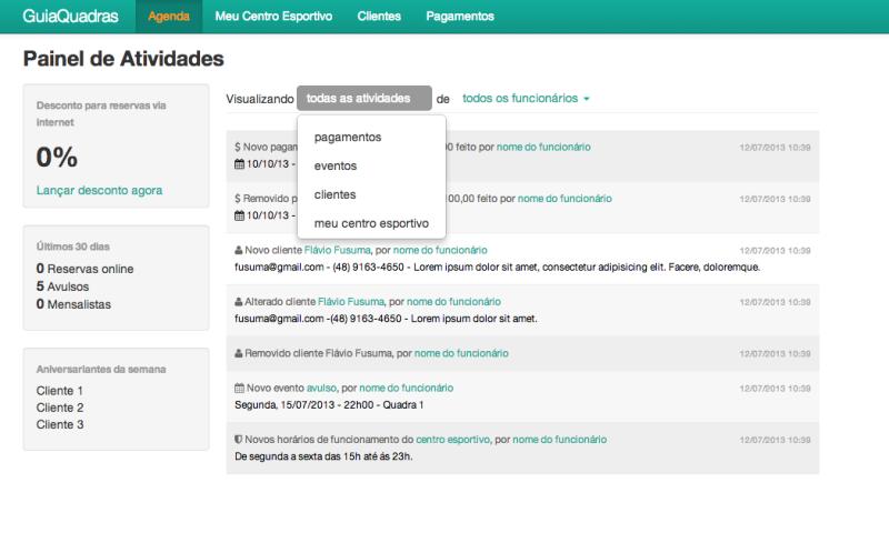 Foto - painel de controle com relatório de atividades realizadas no sistema por funcionário.