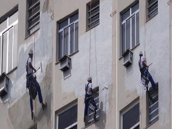 Foto - ?Pintura de fachadaFoi realizada toda a aplicação do selador e a pintura na área danificada do edifício.