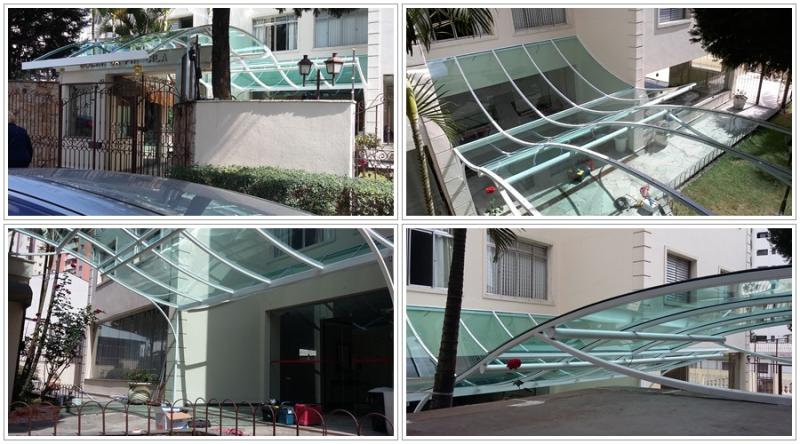 Foto - Cobertura artística com estrutura em aço carbono e placa compacta de 3mm verde ( Day Brasil ) ( Obra: _ cobertura na Saúde _ dá para visitar fácil )