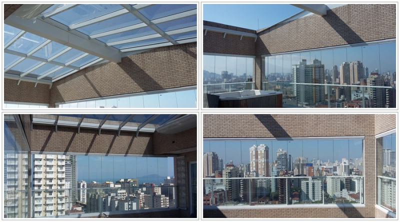 Foto - Linda Cobertura retratol com estrutura em aluminio e vidro refletivo na parte superior e envidraçamento de sacada nas laterais ( Fechamento de varanda ) ( obra em Santos )