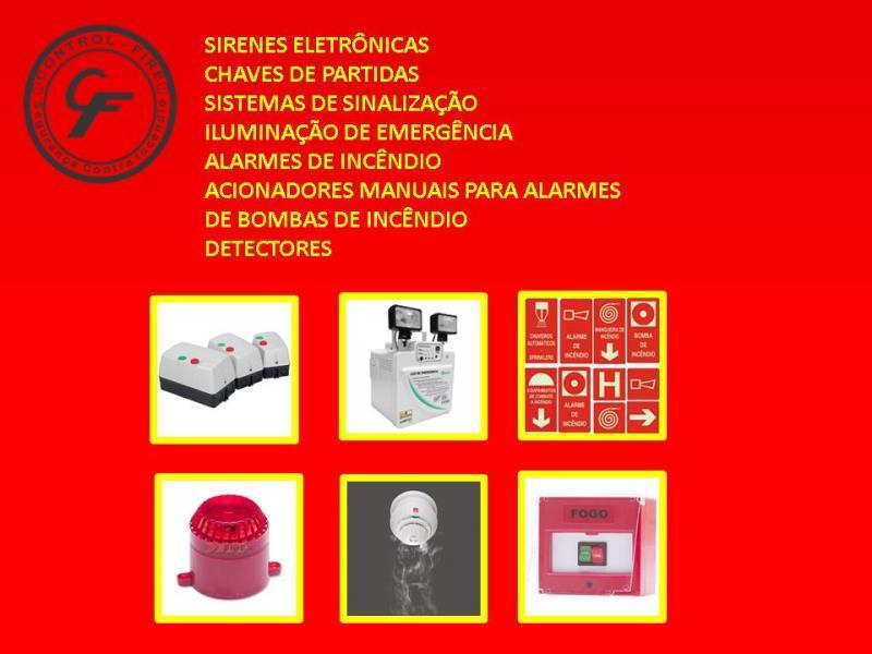 Foto - Especialidades - Sirenes Eletrônicas, Chaves de Partidas, Sistemas de Sinalização, Iluminação de Emergência, Alarmes de Incêndio, Acionadores Manuais para Alarmes de Bombas de Incêndio e Detectores.