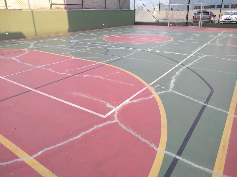 Foto - Impermeabilização e recuperação estrutural de quadra poliesportiva. Cliente: Condomínio Callas