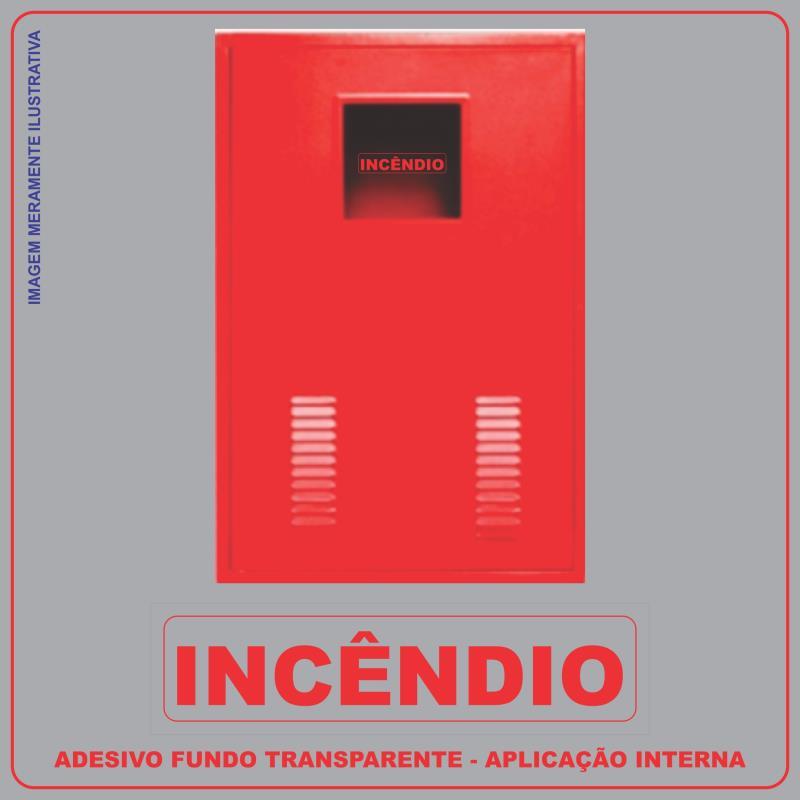 Foto - Modelo: Adesivo Incêndio P/ Caixa De Mangueira (Hidrante)Fundo transparente - Escrito VermelhoTamanho : 5 x 19 cm