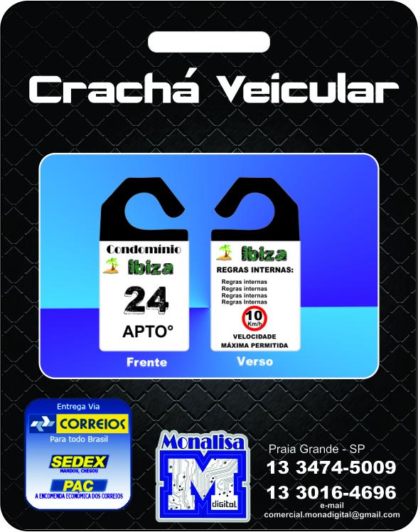 Foto - Crachá estacionamento PVC 2 mm laminado frente e verso