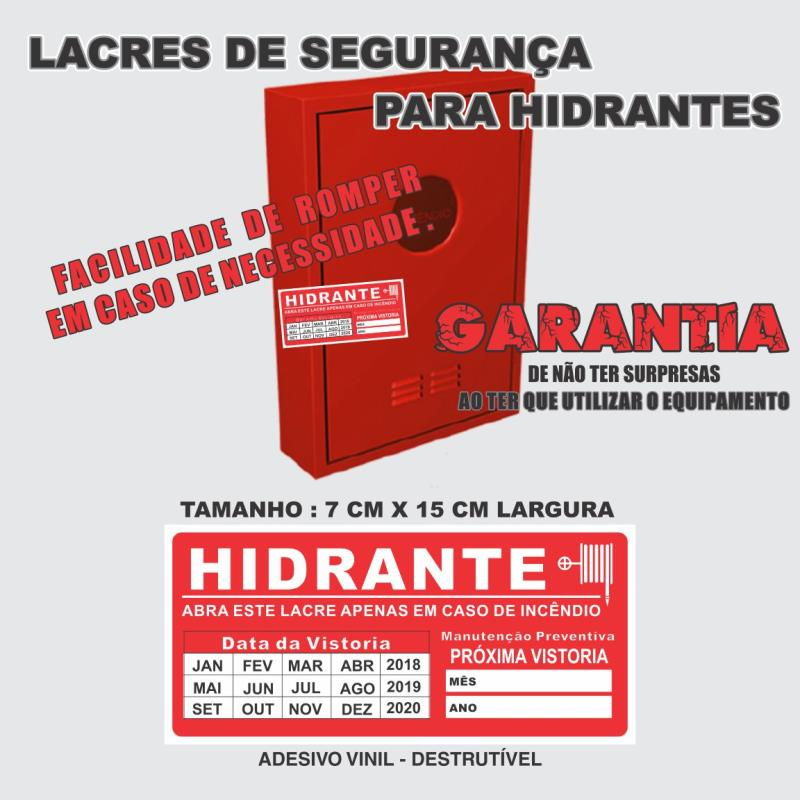 Foto - Lacre Adesivo DestrutívelModelo: Hidrante - Data da Vistoria - Manutenção Preventiva Com Campo para data próxima vistoria