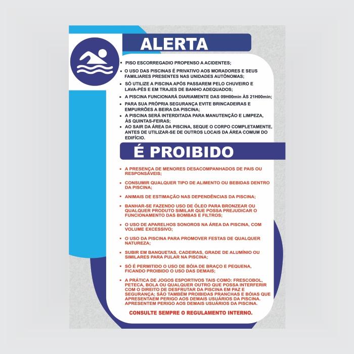 Foto - Placa PVC normas de utilização piscina