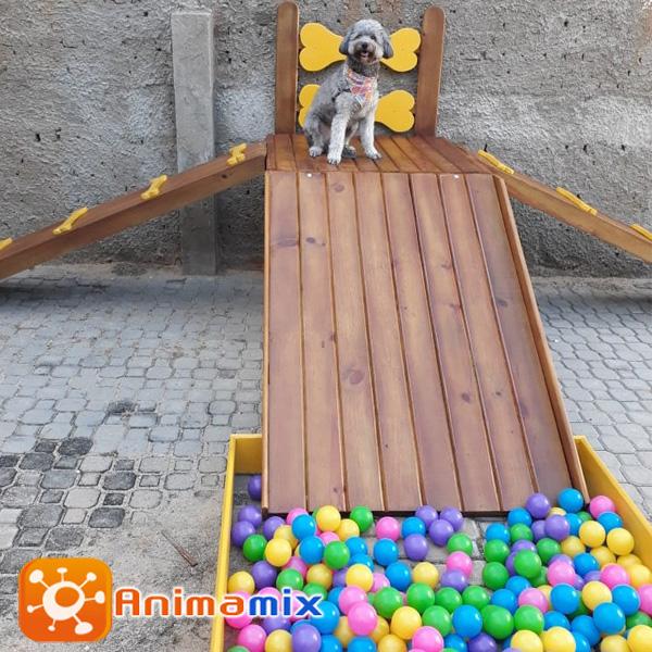 Foto - Animamix Brinquedos - Play para Dog - Plataforma Pet Agility Ossinho Modelo I - O Produto da Linha Pet Agility é praticado em duplas, com o cão e o seu dono, e tem seus objetivos básicos fundamentados da pratica do exercício.A Linha Pet Agility é um esporte para todos os cães